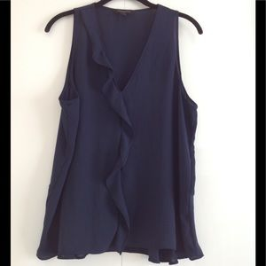 Banana Republic Navy Sleeveless Ruffle Blouse